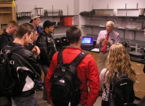 Joseph Schaefer, senior lecturer in aerospace engineering, gives agricultural and biosystems engineering students a tour.